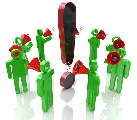 3D people with megaphones around the exclamation mark photo