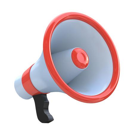 loudhailer: Red megaphone or loudspeaker Stock Photo