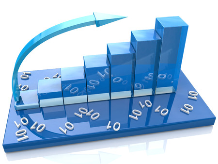Blue bar chart and numbers, data photo