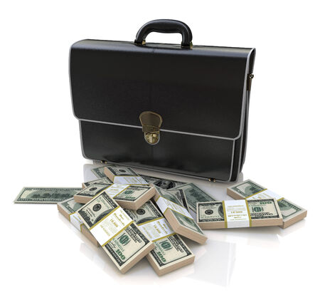 smuggling: briefcase and money Stock Photo