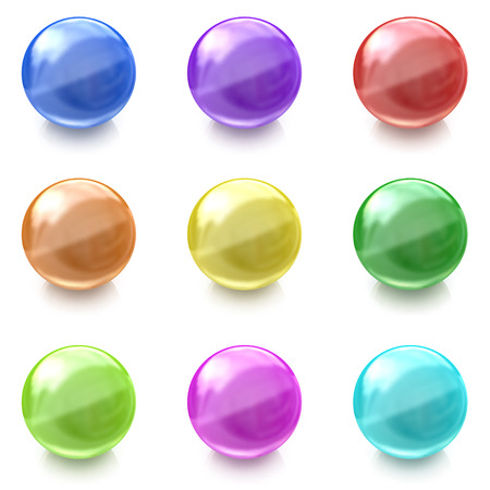 Set of colorful glass balls on white background photo