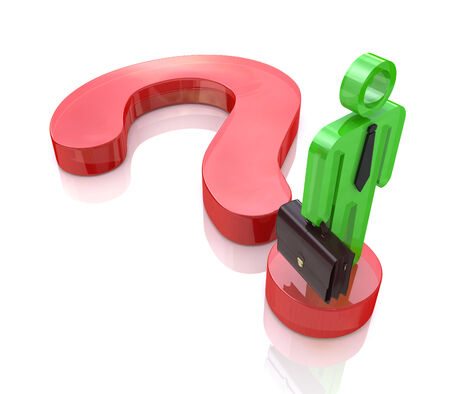 find a solution: A business man stands on a question mark symbol to search find solution Stock Photo