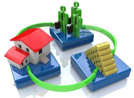 投資家、家、金の延べ棒 - 投資の概念のグループ 写真素材