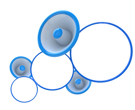 social communication: Blue megaphone with white empty bubbles - social communication concept