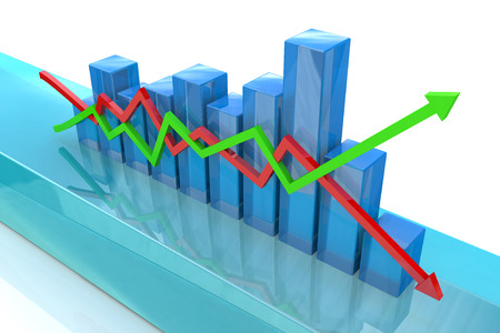 rise fall: Blue bar chart and arrows depicting growth or fall of profits Stock Photo