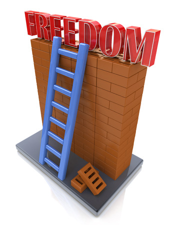 leading: Freedom concept. Ladder leading to a better place Stock Photo