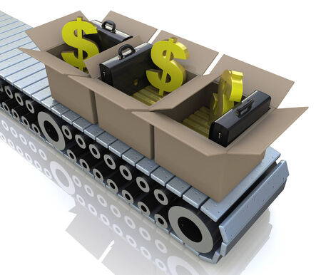 Conveyor cardboard boxes with gold bars and dollar signs photo