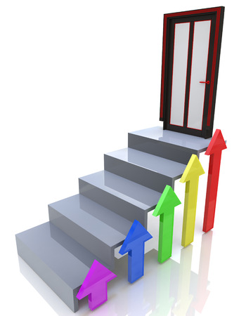 height chart: stairs going upward Stock Photo
