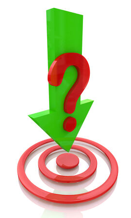 question mark background: question with the direction of at the target