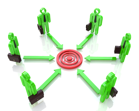 converge: Corporate business executive people aim at concentric circles of marketing target