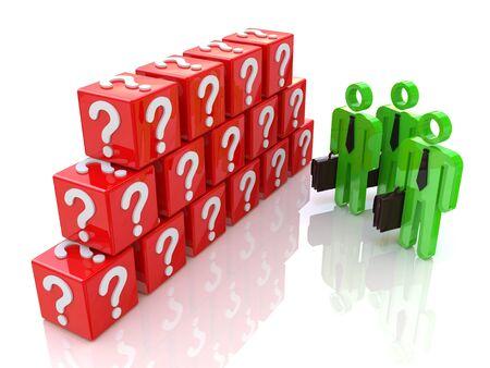 Groep van mensen en vraagteken. 3d teruggegeven illustratie