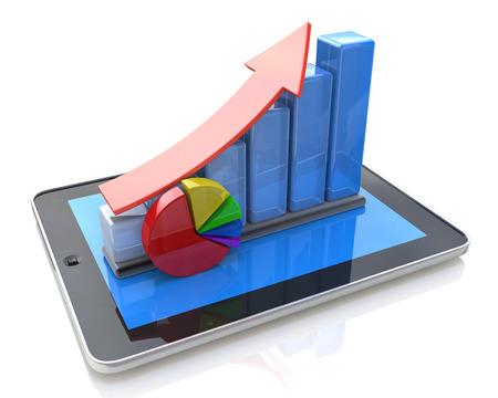 モバイル オフィス、会計統計、金融開発、銀行のビジネス コンセプト: タブレット コンピューター、バーの成長チャート