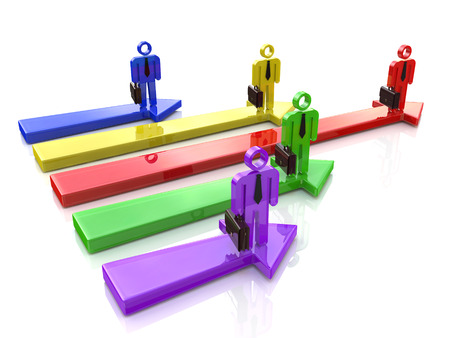 ビジネスの競争。競争のリーダー。コンセプトです。3 d イラストレーション
