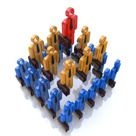 piramide humana: Pir�mide humana. Jerarqu�a de equipo. Jefe de la empresa. Ilustraci�n del concepto 3D