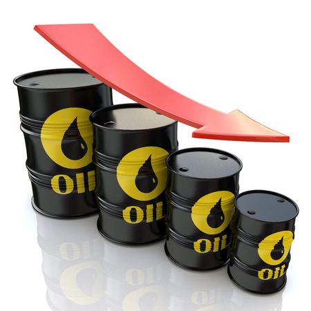 3D image showing graph of decreasing oil prices