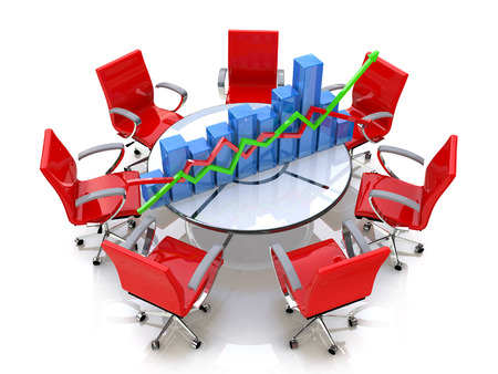 round chairs: Business graph, chart at the round table and red chairs