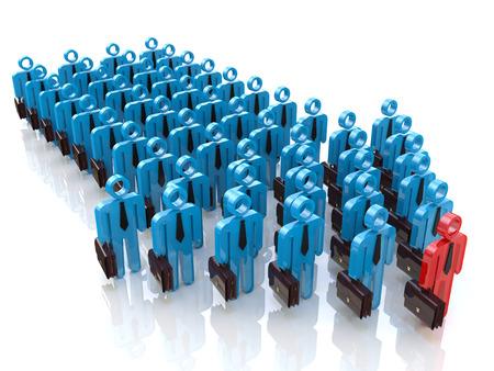 lider: Grupo de personas y l�der. Concepto de la direcci�n
