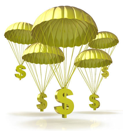 Golden parachutes. Dollar signs parachuting down from the sky Imagens