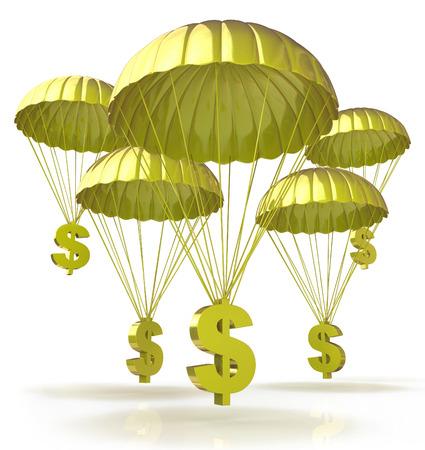 Paracaídas de oro. Muestras de dólar en paracaídas desde el cielo Foto de archivo - 37193706
