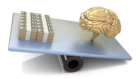 outweighs: Precio cerebro. inteligencia mayor que el dinero Foto de archivo