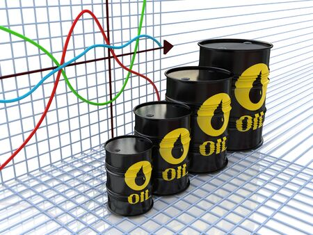 commerce and industry: One row of oil barrels and a financial chart on background (3d render)