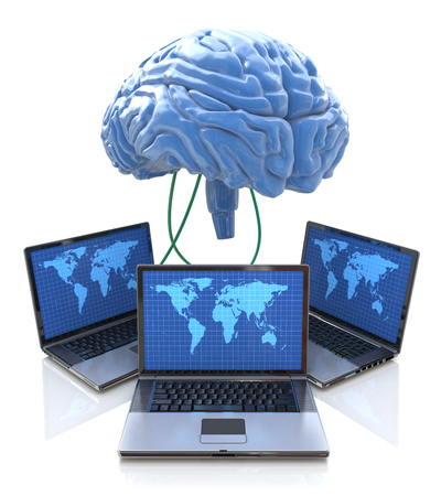 distributed: Computers connected to central brain, concept for distributed computing, crowd sourcing or other internet metaphor Stock Photo