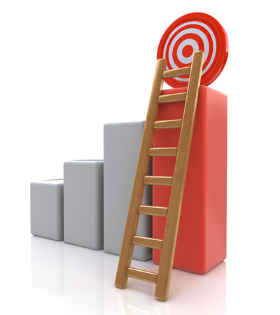 successes: Business target concept , 3d business graph with wood ladder to the red target isolated over white background in the design of information related to successes Stock Photo