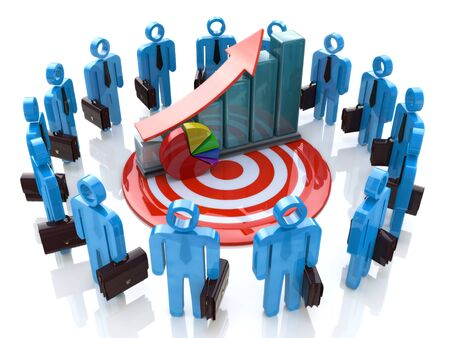 3d business people with financial graph for the design of information related to the business objectives