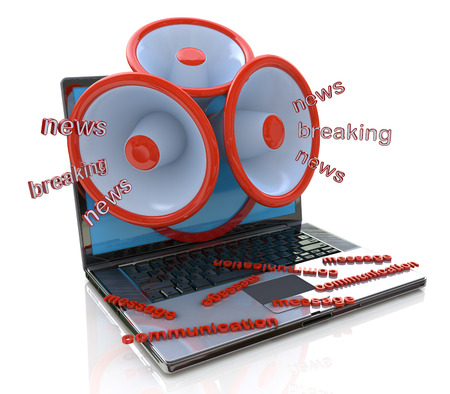 innuendo: Megaphones coming out of laptop screen concept, online breaking news, media in the design of information related to communications