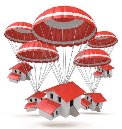 fallschirm: Fallen Häuser. 3D-Illustration einer Karikatur kleinen Häusern Lieferung mit dem Fallschirm Luftschifffahrt in der Gestaltung von Informationen im Zusammenhang mit Immobilien Lizenzfreie Bilder