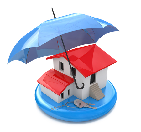 mortgage rates: House insurance home owner protection from mortgage interest rates as a home. Real estate financial and structural risk in the design of information related to forced support Stock Photo