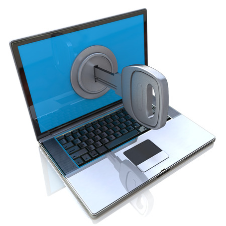Computer security 3d concept - laptop and key in the design of information related to internet technologies Banque d'images
