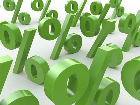 sales bank: 3D green signs percent in the design of information related to business and economics
