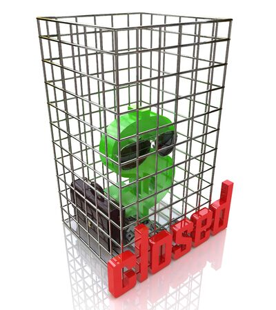 imprisoned: Financial prison. 3d render illustration of an imprisoned dollar symbol in the design of information related to business and economy