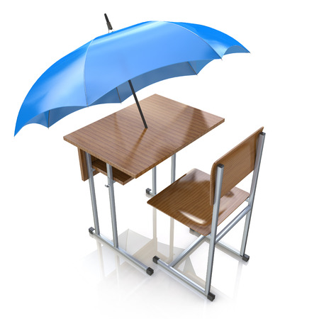 providing: Education protection and teaching shelter for literacy and learning as a generic school desk with an umbrella as a symbol for protecting and providing security to students in the design of information related to education