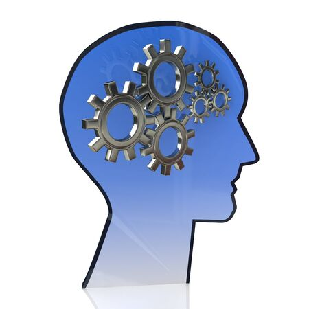 subconscious: Head with gears inside as a symbol work of brain in the design of the information related to the ideas and technologies