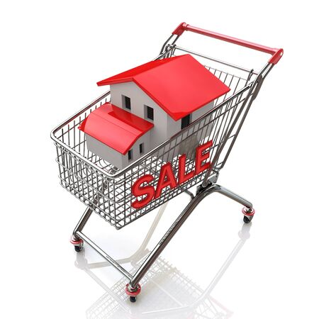 renting: Shopping cart and house in the design of the information related to the purchase of Real Estate Stock Photo