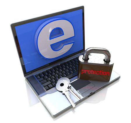 computer virus: Laptop Computer with lock - Internet protection in the design of the information related to data security Stock Photo