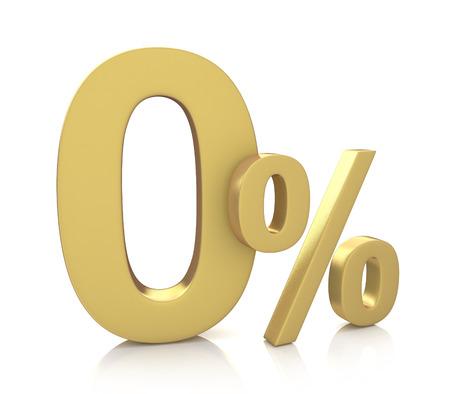 0% 率に関連する情報のデザインで、白地に金の文字での 3D レンダリング 写真素材