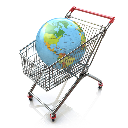 Global shopping concept with shopping cart containing globe in the design of the information associated with the global trade Imagens