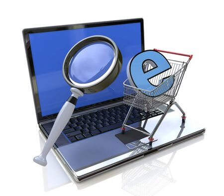 eshop: Search online goods in the design of the information related to trade and the Internet Stock Photo