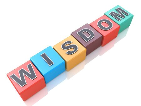 Concept of wisdom word on colorful cubes in the design of information related to knowledge and education Banco de Imagens