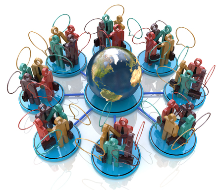 Global communication concept. Social Network in the design of the information related to the communication business people