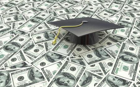 cost of education: Mini graduation cap on US money -- education costs in the design of information related to the cost of education Stock Photo