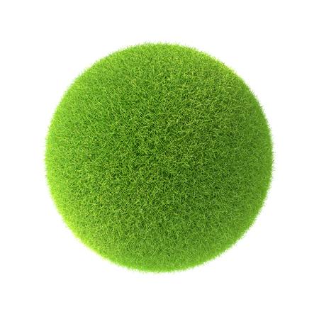 pelota: bola de la hierba verde. Aislado en el fondo blanco en el dise�o de la informaci�n relacionada con el mundo y la naturaleza Foto de archivo