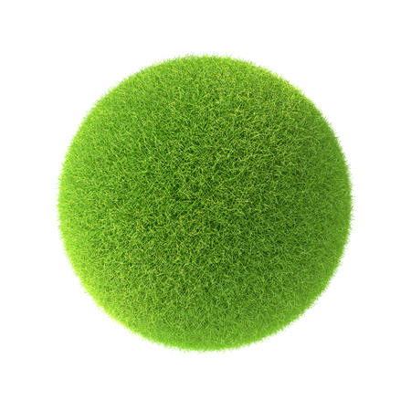 image background: Green grass ball. Isolated on white background in the design of information related to the world and nature