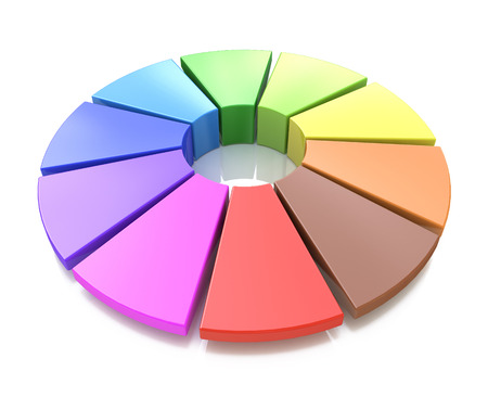 secondary colors: 3d color wheel in the design of the information associated with the color palette