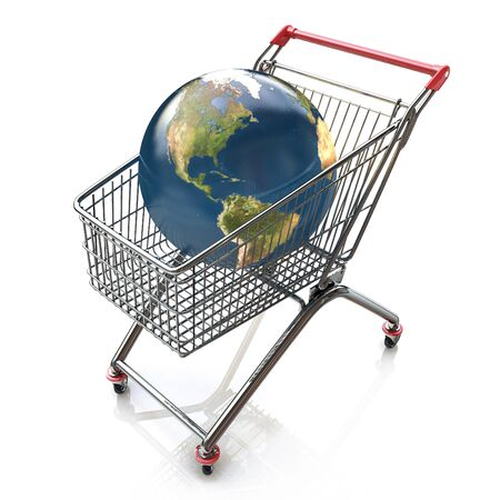 global trade: Global shopping concept with shopping cart containing globe in the design of the information associated with the global trade Stock Photo