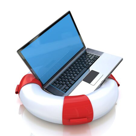 notebook computer: Laptop on lifebuoy over white, support, service concept. in the design of the information related to the Internet and support Stock Photo