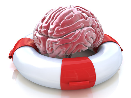 brain function: Saving your brain and preserving memory and neurological function as a lifesaver in the ocean - saving the human thinking organ as a health care and medical concept for cognitive therapy